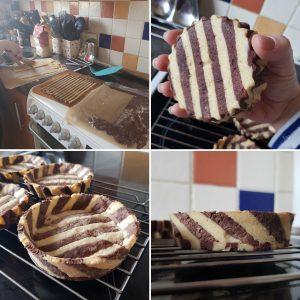 Four photos of tarts with a zebra base