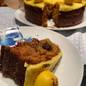 Fruit cake with pear topping