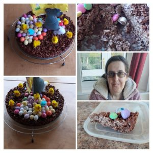 Chocolate cake coated with Easter eggs and chicks