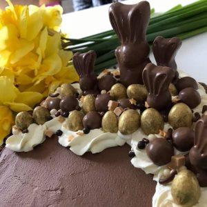 Chocolate cake next to daffodils