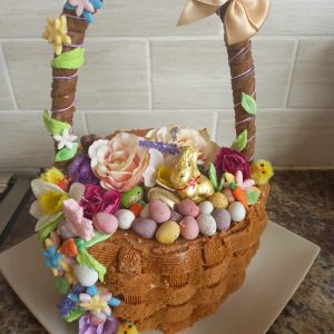 Cake in the shape of a beautiful easter basket